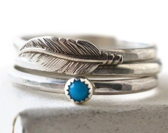 Tiny Turquoise Ring, Silver Feather Ring, Natural Gemstone Stacking Ring Set of Three, Hammered Bands, Sterling Silver Charm Jewelry,
