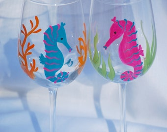 Hand painted wine glasses -  Seahorse