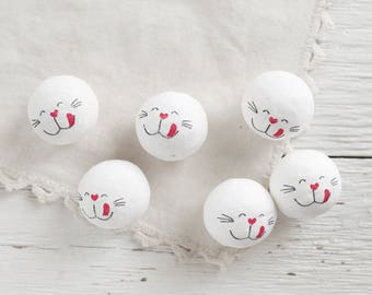 Spun Cotton Bunny / Cat Heads with Faces, 30mm - Vintage-Style Animal Craft Shapes, 6 Pcs.
