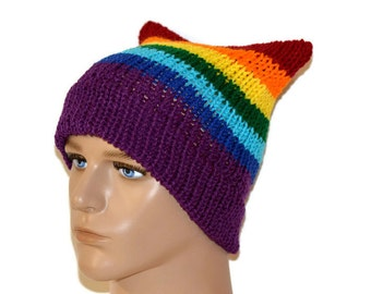 Rainbow Cat Hat, Rainbow hat, Rainbow Beanie, Hipster Beanie,Rainbow, Rainbow Pride, Pussy hat, Rainbow pussy hat , National equality march