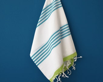 SALE 70 OFF / Turkish Beach Bath Towel / Classic Peshtemal / Green Blue / Wedding Gift, Spa, Swim, Pool Towels and Pareo