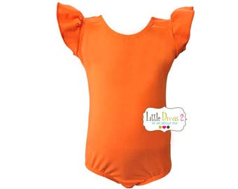 Orange Leotard (Child) FLUTTER/RUFFLE Sleeve Leotard