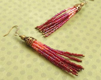 Fushia Dark Pink Purple Beaded Tassel Earrings With Antiqued Gold Plated Brass, Bronze Accents