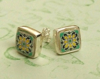 Sterling Silver Post Earrings, Spanish, Mexican, Catalina and Mediterranean Tile Inspired