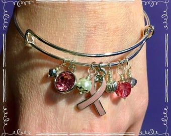Find A Cure Breast Cancer Bracelet-survivor, October awareness, breast cancer awareness, motivational jewelry, pink ribbon jewelry,gift idea