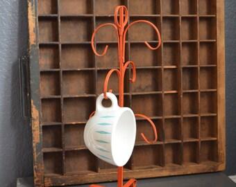 Vintage Coffee Mug Jewelry Tree Stand Orange Metal Rack Kitchen Counter Table Decor Rusty Display Organizer