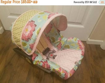 SALE Baby Car seat cover, Floral dots Baby Girl infant car seat cover, girly slipcover, baby car seat cover set (canopy,slipcover, strap cov