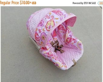 SALE SALE Paisley fabric with light pink minky- Infant car seat cover- Custom Order- Always comes with free Reversible strap covers