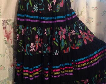 SMALL/MEDIUM, Bohemian Hippie Indie Gypsy Boho Flower Child Colorful Full Long Cotton Skirt