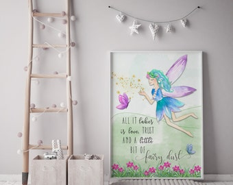 Fairy print | children's prints | Fairies | Kids wall art | Individual print
