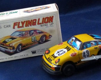 Vintage MTU Flying Lion Racing Car 43 Wind Up Tin Toy, 1970s