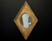 Vintage Italian Florentine Gold Gilt Mirror / Gold Diamond Shaped Mirror / Mid Century Mirror