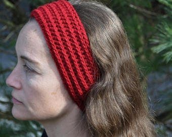 Fionna ribbed crochet Adult headband Maroon Red Wine