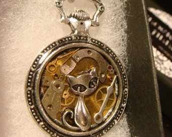 Clockwork Cat Steampunk Pocket Watch Pendant Necklace -Made with Real Watch Parts (2369)