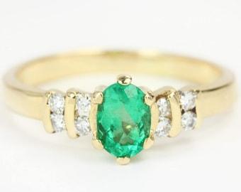 14K Colombian Emerald & Diamond Ring,Petite Emerald Ring, Natural Emerald Ring, Emerald Solitaire Ring, May Birthstone, May Anniversary Ring