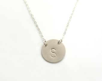 Large Initial Necklace,  Monogram Necklace, Layering Necklace, Large Disc , Sterling Silver Disc Personalized Jewelry, Celebrity Jewelry