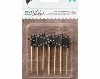 Chalk Toothpick Pennants, Cupcake toppers, party supplies
