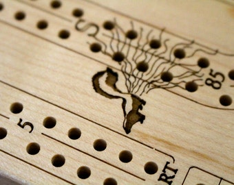 """Travel Cribbage Board 2 player Premium Quality, Wooden or Metal Pegs, Folded Size 6 1/2"""" x  3 1/2""""  x  1 1/2""""D, Wood Games, Paul Szewc"""