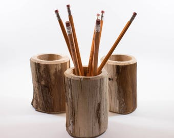 Natural Driftwood Pencil Holder - Made from Hand Collected Driftwood from the Pacific Northwest - Great gift for Dad - Each One is Unique