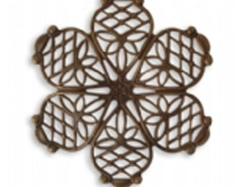 2 pcs Vintaj Natural Brass Violet Petal Filigree 35mm  Embellishment Filigree Natural Brass Jewelry Findings Craft Supplies Tools-