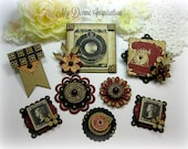Graphic 45 Communique Handmade Burgundy Black and Beige Paper Embellishments for Scrapbook Layouts Cards Mini Albums and Papercrafts