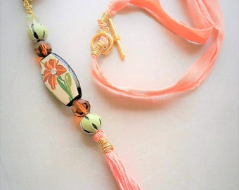 Beaded Tassel Pendant Necklace - Peach Necklace - Beaded Jewelry - Long Necklace for Women - Sari Silk Ribbon Jewelry - Art Nouveau Jewelry