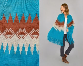 70's Fringed Sweater Cape