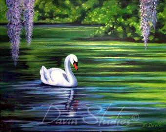 Swan Painting called Swan Princess, Beautiful White Swan on the Water with Hanging Spanish Moss, Signed Art Print