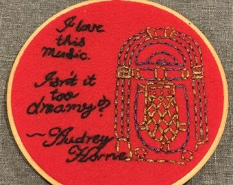 Isn't It Too Dreamy? embroidery hoop. Decorative hoop art inspired by Audrey Horne. With hand embroidered metallic juke box.