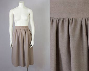 "70s Vintage Wool Crepe High Waisted Shirred Wool Midi Skirt (M; 29"" Waist)"