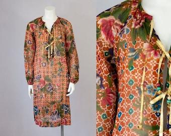 70s Vintage Floral Print Cotton Tunic Dress (S, M)