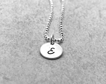 Sterling Silver, Initial Necklace,Letter E Necklace, All Letters Available, Hand Stamped Jewelry, Personalized Jewelry, Gifts for her