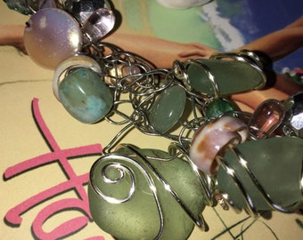 Mint Kauai Sea Glass Bracelet.  Wire Crochet