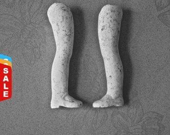 Final Markdown- Sale - SaLe - Vintage Straight White Pipe Clay Doll Legs for Altered Art Doll Making