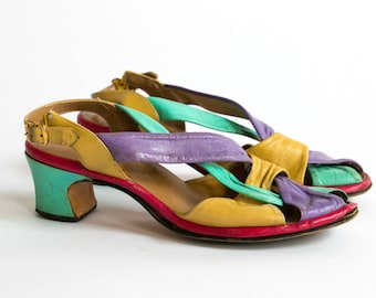 Vintage 60's Colorful Pastel Summer Strappy Heels / Sandals / Retro Women's Size 8