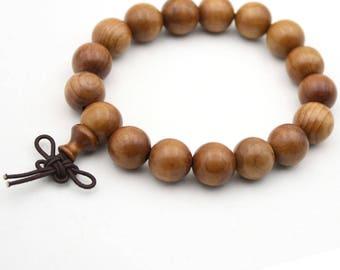 Tibetan Buddhist 12mm x 12mm Wood Prayer Beads Bracelet Mala  HD001