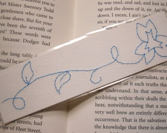Floral bookmark, Laminated Blue Floral Stitched Bookmark