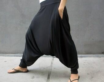 "Harem Pants, Yoga Pants, Low Crotch, Women Harem Pants, Men Harem Pants, Sweatpants, Glorka, ""Deep Stretch"", Ninja Pants, Black Minimalist"