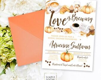 Pumpkin Spiced Latte Love is Brewing Coffee Bridal Shower Invitation - Bridal Shower Coffee Beans Croissant Pumpkin Printable Invitation