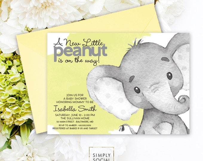 Elephant Baby Shower Invitation - Gender Neutral Watercolor Elephant Modern Baby Shower Yellow and Grey Little Peanut Printable