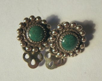 Sweet Petite Green Round Turquoise Silver Clip Earrings