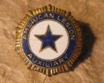 Tiny Vintage American Legion Auxiliary White and Blue Enameled Lapel Pin