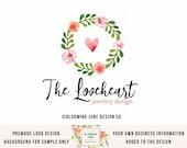 heart logo wreath logo premade logo photography logo jewelry design logo event planner logo wedding logo watercolor logo planner shop logo