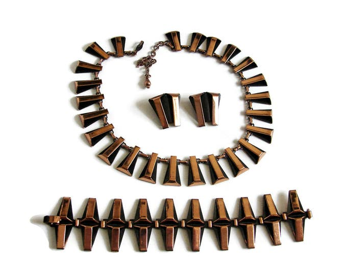 Vintage RENOIR Copper Necklace Bracelet Earrings Set