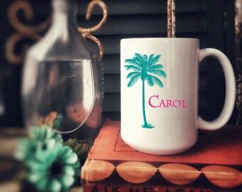Personalized Ceramic Coffee Mug, Customized for free, Bridal Party Gift, Palm Tree 15 oz
