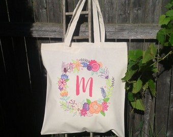 Floral Wreath Tote Bag, Bridesmaid Wedding Bag, Personalized Wedding Totes