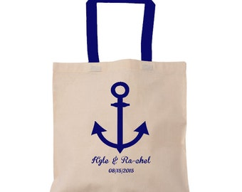 Navy Blue Anchor. Colored Handles, Wedding Tote Bag with Anchor, Nautical, Beach, Cruise Personalize FREE, Bridesmaid