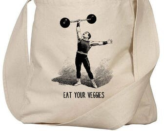 Farmers Market Tote, Organic Farmers Market Tote Bag, Buy Local, Made in USA, Vintage Strong Man, Eat Your Veggies