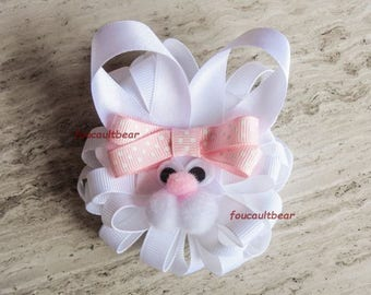 Le Grand Bunny Rabbit Hair Bow Barrette Clip Easter for Ponytail Custom Boutique
