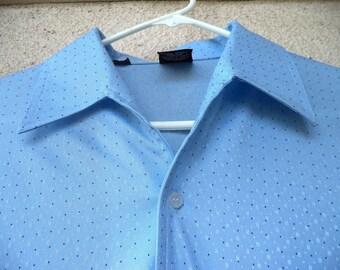 1970s DISCO SHIRT. Silky Polyester Shirt. Leisure Shirt. Blue Shirt. Joel of California Shirt. Pointed Collar. Butterfly Collar. Shiny. LG